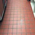 Commercial Tile Floor Needing Grout Restoration in Raleigh NC
